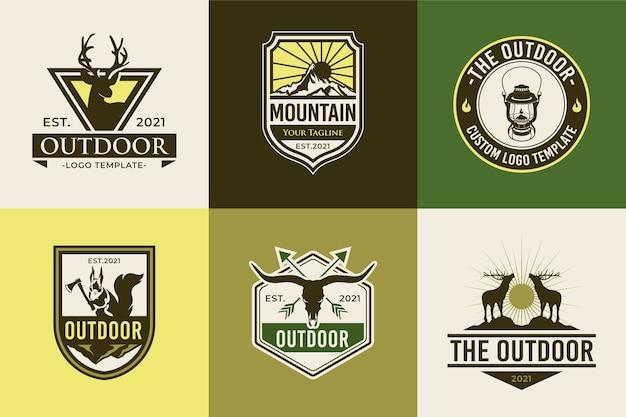 Zestaw szablonów odznak logo przygody