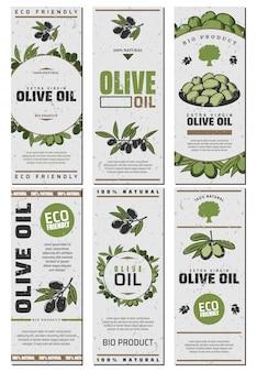 Zestaw szablonów opakowań oliwy z oliwek z tekstem zielone i czarne oliwki w stylu vintage