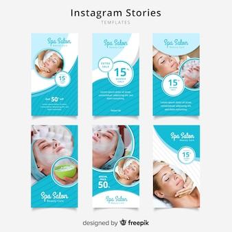Zestaw szablonów opowiadań spa instagram