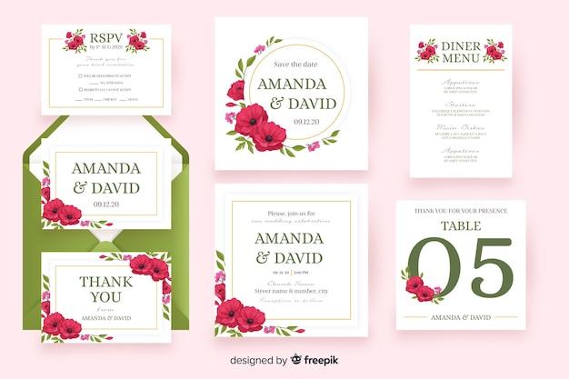 Zestaw szablonów papeterii ślubnych kwiatowy
