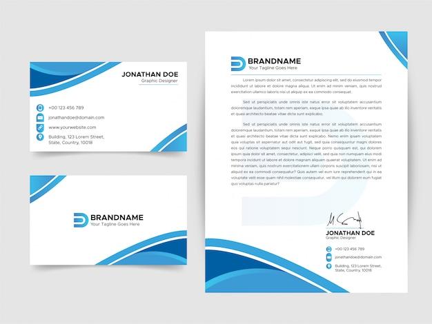 Zestaw szablonów papier firmowy streszczenie wizytówki, kolekcja wzorów papeterii niebieski i biały