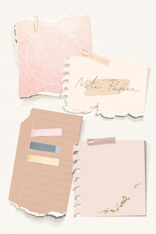 Zestaw szablonów papieru do notatek w błyszczącym odcieniu ziemi