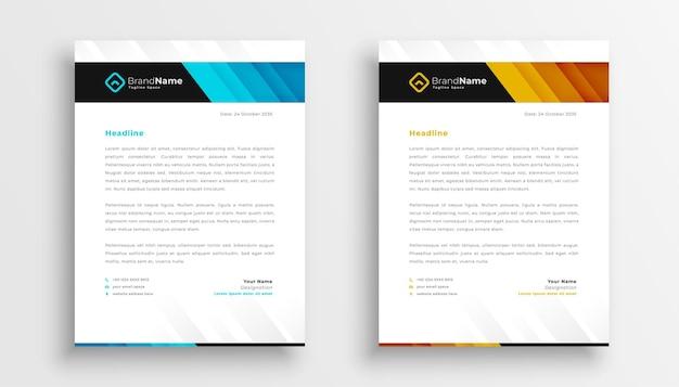 Zestaw szablonów papieru firmowego stylowy biznes