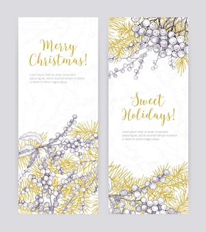 Zestaw szablonów pionowych banerów świątecznych z gałęzi drzew iglastych, liści ostrokrzewu i jagód ręcznie rysowane z liniami konturu na białej przestrzeni