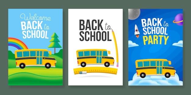 Zestaw szablonów plakatów autobusu szkolnego kreskówka. powrót do znaku tekstu szkoły. kolor tła.