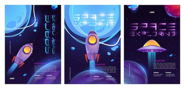 Zestaw szablonów plakatów eksploracji kosmosu