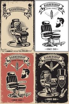 Zestaw szablonów plakatów fryzjerskich.