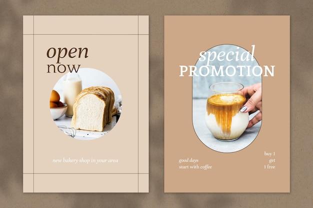 Zestaw szablonów plakatów wektorowych kawiarni