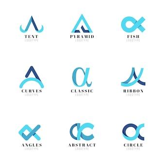 Zestaw szablonów płaskich logo alfa