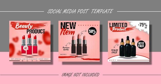 Zestaw szablonów postów lub ulotek w mediach społecznościowych z produktami kosmetycznymi