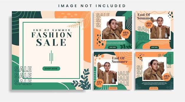 Zestaw szablonów postów na instagramie sprzedaży mody