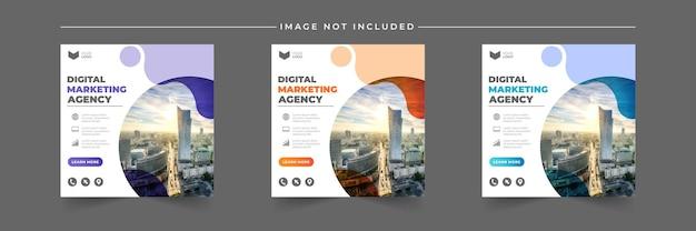 Zestaw szablonów postów w mediach społecznościowych dla agencji marketingu cyfrowego biznesu