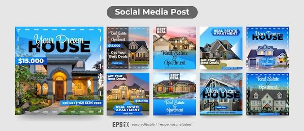 Zestaw szablonów postów w mediach społecznościowych do promocji nieruchomości i mieszkań