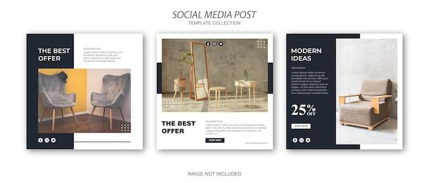 Zestaw szablonów postów w mediach społecznościowych na instagramie
