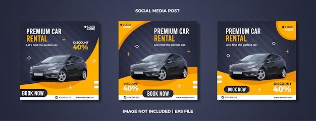 Zestaw szablonów postów w mediach społecznościowych wypożyczalni samochodów.
