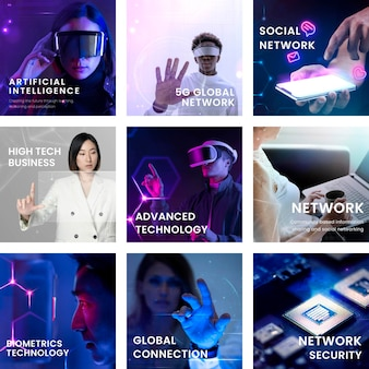 Zestaw szablonów postów w mediach społecznościowych z zaawansowaną koncepcją technologii