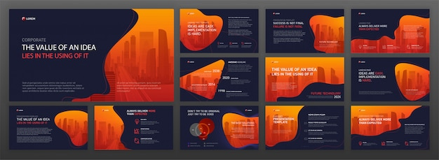 Zestaw szablonów powerpoint prezentacji biznesowych