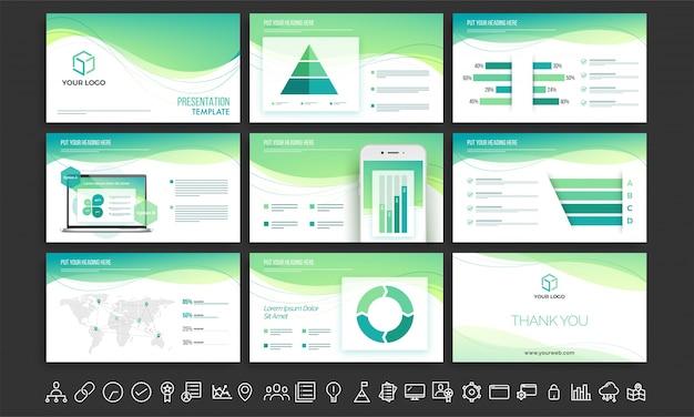 Zestaw szablonów prezentacji białego i zielonego.