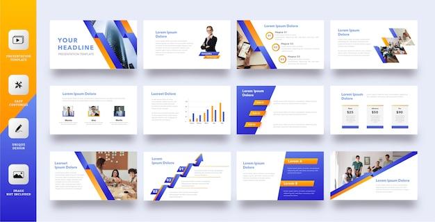 Zestaw szablonów prezentacji biznesowych niebieski pomarańczowy pasek