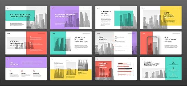 Zestaw szablonów prezentacji biznesowych.
