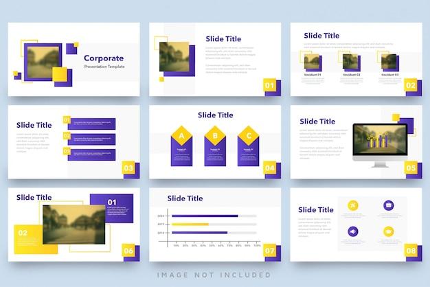 Zestaw szablonów prezentacji nowoczesny fioletowy żółty kwadrat