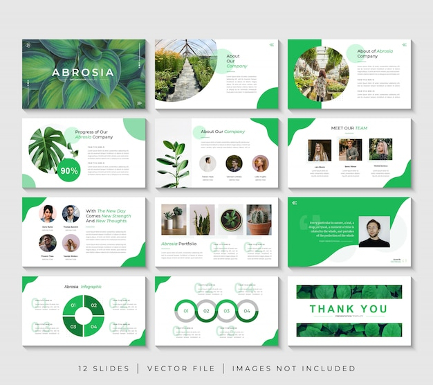 Zestaw szablonów prezentacji prezentacji biznesowych powerpoint zielony charakter