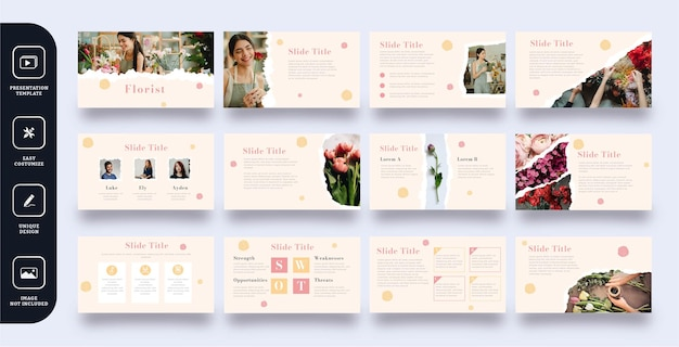 Zestaw szablonów prezentacji slajdów kwiaciarni