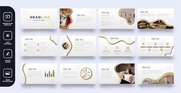 Zestaw szablonów prezentacji slajdów luksusowe meble