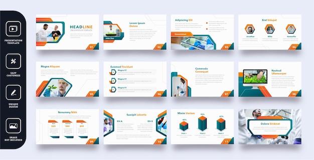 Zestaw szablonów prezentacji slajdów nowoczesny biznes