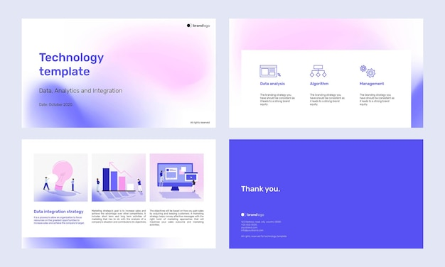 Zestaw szablonów prezentacji z fioletowym gradientem