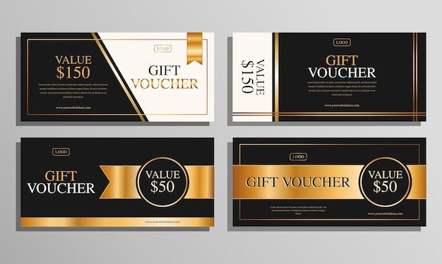 Zestaw szablonów prezentów ze złotymi luksusowymi kuponami