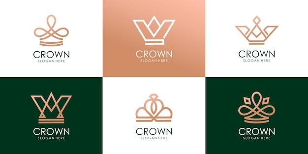 Zestaw szablonów projektów graficznych korony królewskiej premium wektorów