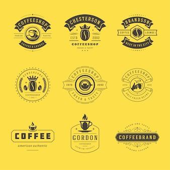 Zestaw szablonów projektów logo kawiarni