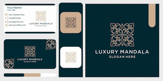 Zestaw szablonów projektów logo luksusowych mandali w modnym stylu liniowym z kwiatami i liśćmi