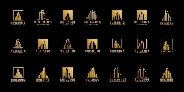 Zestaw szablonów projektów logo nieruchomości kolekcji.
