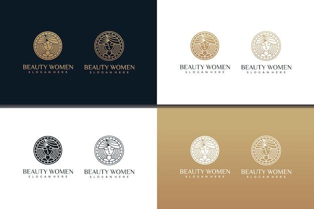 Zestaw szablonów projektów logo pięknych kobiet ze stylami grafiki liniowej i projektami wizytówek