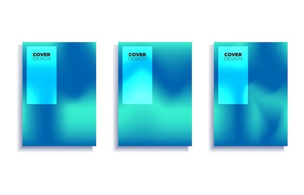 Zestaw szablonów projektów okładek z żywym tłem gradientu