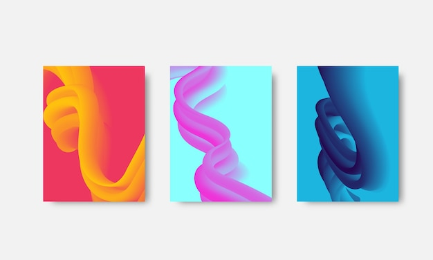 Zestaw szablonów projektów okładek z żywymi kolorami gradientu
