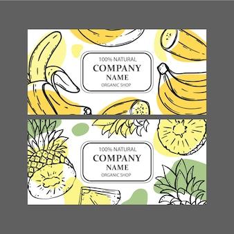 Zestaw szablonów projektów sklepów ekologicznych ze szkicami owoców