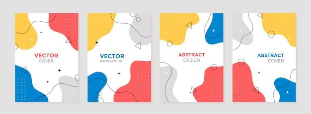 Zestaw szablonów projektów streszczenie kolorowe geometryczne okładki