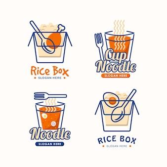 Zestaw szablonów projektowania logo kuchni azjatyckiej, marki lub restauracji