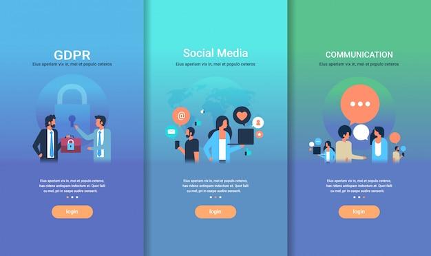 Zestaw szablonów projektowania stron internetowych rodo komunikacja w mediach społecznościowych kolekcja różnych koncepcji biznesowych