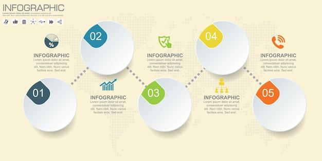Zestaw szablonów projektu infografiki koło, pięć kroków lub opcji