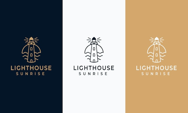 Zestaw szablonów projektu logo latarni morskiej