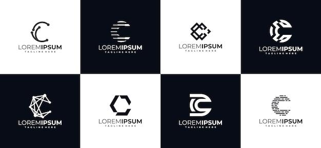 Zestaw szablonów projektu logo monogram pierwsza litera c