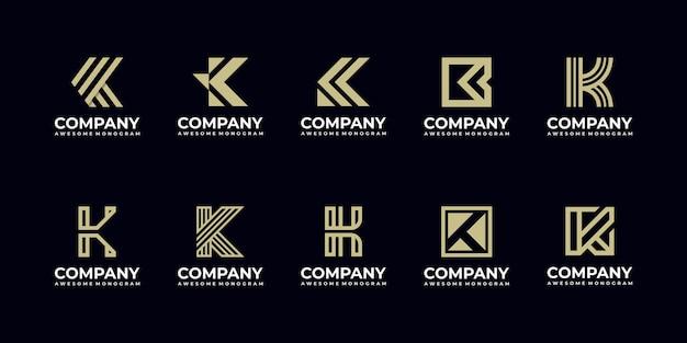 Zestaw szablonów projektu logo monogram pierwsza litera k.