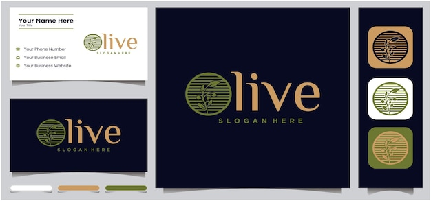 Zestaw szablonów projektu logo oliwy z oliwek oliwa z oliwek i wizytówka z zielonym