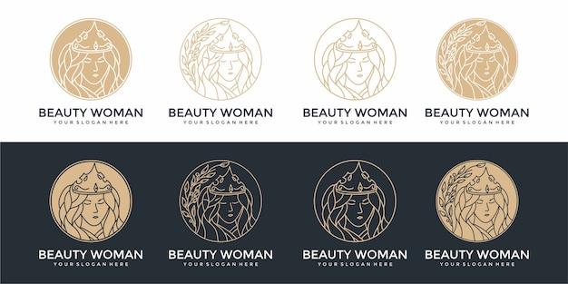 Zestaw szablonów projektu logo piękna