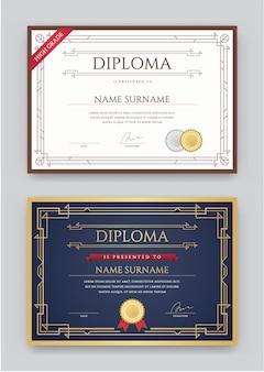 Zestaw szablonów projektu premium dyplomu lub certyfikatu w vector