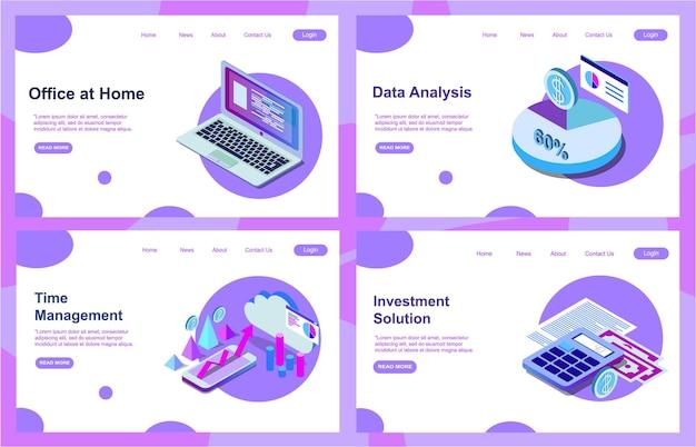 Zestaw szablonów projektu strony docelowej do analizy danych, umowy cyfrowej, rozwiązania inwestycyjnego i zarządzania finansami. łatwe do edycji i dostosowywania. nowoczesne koncepcje ilustracji wektorowych eps